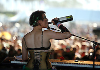 COACHELLA,CA - APRIL18,2009: Amanda Palmer has a refreshment during her performance at  Coachella Valley Music and Arts Festival Saturday, April 18, 2009. 147717.CA.0418.coachella