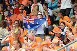 The Hague, Netherlands, June 14: Supporter of the Australian team holds up a flag during the field hockey gold medal match (Women) between Australia and The Netherlands on June 14, 2014 during the World Cup 2014 at Kyocera Stadium in The Hague, Netherlands. Final score 2-0 (2-0)  (Photo by Dirk Markgraf / www.265-images.com) *** Local caption ***