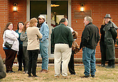 Buckhannon, WVa - January 8, 2006 -- Friends and family of Jesse L. Jones, 44, stand outside the funeral home in Buckhannon, West Virginia on January 8, 2006 following his funeral service.   Mr. Jones perished in the Sago Mine explosion on January 2, 2006..Credit: Ron Sachs / CNP