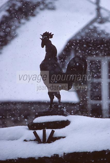 France/15/Cantal/Salers:  Statue d' un Coq devant une maison sous la neige