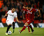 Gabriel Mercado of Sevilla challenged by Emre Can of Liverpool during the Champions League Group E match at the Anfield Stadium, Liverpool. Picture date 13th September 2017. Picture credit should read: Simon Bellis/Sportimage