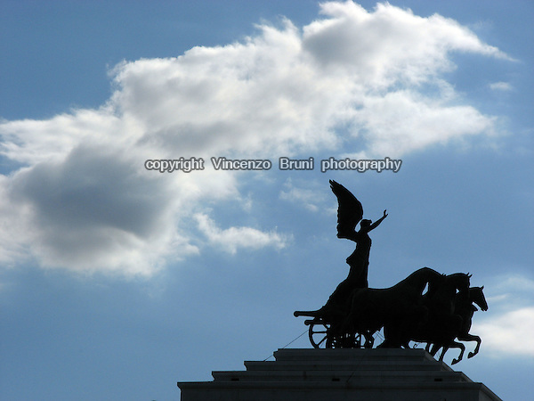 Silhouette of King's Vittorio Emanuele I Memorial in Rome, Italy. .