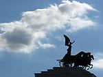 Silhouette of King's Vittorio Emanuele I Memorial in Rome, Italy. .