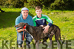 "Enjoying the the Kilflynn Coursing on monday were Tom White and Christopher White from Ballyduff with their dog ""Dirren Master""  competing in"