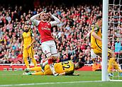 1st October 2017, Emirates Stadium, London, England; EPL Premier League Football, Arsenal versus Brighton; Aaron Ramsey of Arsenal reacts after he misses a goal scoring opportunity