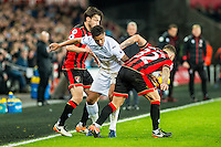 Kyle Naughton of Swansea City fights to keep the ball during the Premier League match between Swansea City and Bournemouth at The Liberty Stadium, Swansea, Wales, UK. Saturday 31 December 2016