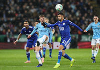 Leicester City 's Rachid Ghezzal competing with Manchester City 's  Oleksandr Zinchenko<br /> <br /> Photographer Andrew Kearns/CameraSport<br /> <br /> English League Cup - Carabao Cup Quarter Final - Leicester City v Manchester City - Tuesday 18th December 2018 - King Power Stadium - Leicester<br />  <br /> World Copyright &copy; 2018 CameraSport. All rights reserved. 43 Linden Ave. Countesthorpe. Leicester. England. LE8 5PG - Tel: +44 (0) 116 277 4147 - admin@camerasport.com - www.camerasport.com