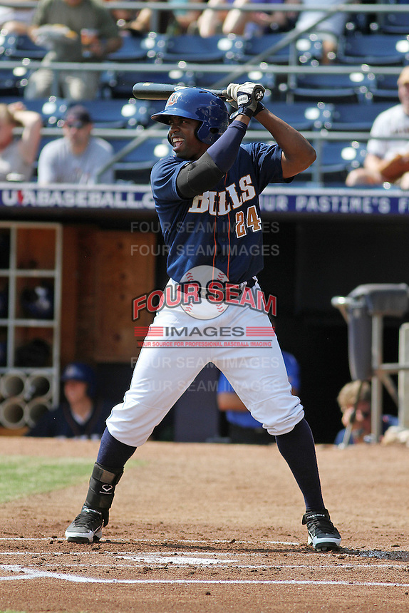 Durham Bulls infielder Leslie Anderson #24 at bat during a game against the Louisville Bats at Durham Bulls Athletic Park on May 2, 2012 in Durham, North Carolina. Durham defeated Louisville by the score of 7-5. (Robert Gurganus/Four Seam Images)