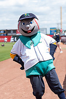 Cedar Rapids Kernels mascot Mr. Shucks poses for a photo before a Midwest League game against the Dayton Dragons at Perfect Game Field on May 5, 2019 in Cedar Rapids, Iowa. (Zachary Lucy/Four Seam Images)
