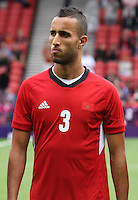 Men's Olympic Football match Honduras v Morocco on 26.7.12...Mohamed Abarhoun of Morocco, during the Spain v Japan Men's Olympic Football match at Hampden Park, Glasgow..........