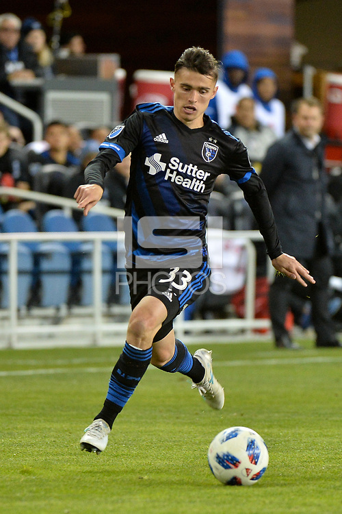 San Jose, CA - Saturday March 24, 2018: Paul Marie during an international friendly between the San Jose Earthquakes and Club Leon FC at Avaya Stadium.