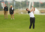 Robert Rock plays his second shot to the 1st hole during the first round of the ISPS Handa Wales Open 2013 at the Celtic Manor Resort<br /> <br /> 29.08.13<br /> <br /> &copy;Steve Pope-Sportingwales