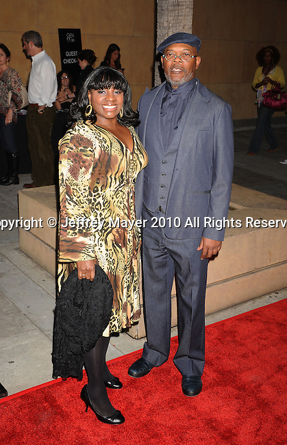 """HOLLYWOOD, CA. - April 19: Samuel L. Jackson (R) and wife LaTanya Richardson arrive at the Los Angeles Premiere of """"Mother And Child"""" at the Egyptian Theatre on April 19, 2010 in Hollywood, California."""