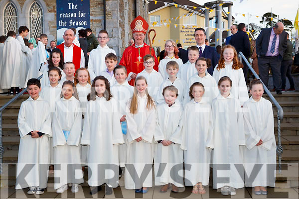 Pupils from Knocknagree NS with Bishop Ray Browne and DJ Golden Princial at their Confirmation in St Josephs church Rathmore on Tuesday