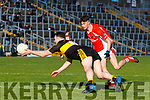 Alan O'Sullivan Dr Crokes in action against P.J Mac Láimh West Kerry in the Kerry Senior Football Championship Semi Final at Fitzgerald Stadium on Saturday.