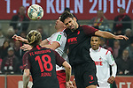 30.11.2019, RheinEnergieStadion, Koeln, GER, 1. FBL, 1.FC Koeln vs. FC Augsburg,<br />  <br /> DFL regulations prohibit any use of photographs as image sequences and/or quasi-video<br /> <br /> im Bild / picture shows: <br /> Kopfballduell zwischen  Rani Khedira (FC Augsburg #8),  und Simon Terodde (FC Koeln #9), <br /> <br /> Foto © nordphoto / Meuter