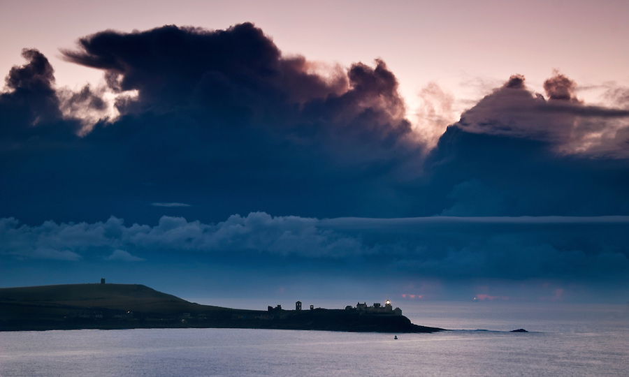 Roches Point Lighthouse, A stormy morning at sunrise.