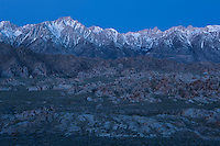Dawn light over Sierra Nevada mountains and Alabama Hills, California, USA