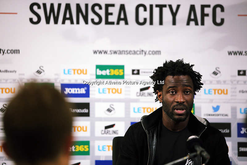 Wilfried Bony speaks to reporters during the Swansea City Press Conference at The Fairwood Training Ground, Swansea, Wales, UK. Thursday 07 September 2017