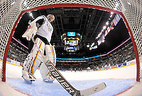 San Antonio Rampage goaltender Jacob Markstrom stands in his net during the first period of an AHL hockey game against the Milwaukee Admirals, Thursday, Jan. 16, 2014, in San Antonio (Darren Abate/AHL)