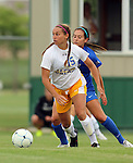 BROOKINGS, SD - AUGUST 22: Alyssa Brazil #15 from South Dakota State pushes the ball past Alissa Kohmetscher #21 from Creighton in the first half of their game Friday night in Brookings. (Photo by Dave Eggen/Inertia)