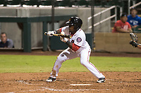 Salt River Rafters center fielder Daniel Johnson (7), of the Washington Nationals organization, attempts to lay down a bunt during an Arizona Fall League game against the Scottsdale Scorpions at Salt River Fields at Talking Stick on October 11, 2018 in Scottsdale, Arizona. Salt River defeated Scottsdale 7-6. (Zachary Lucy/Four Seam Images)