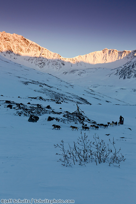 Sonny Lindner crests the summit of Rainy Pass in the Alaska Range during the  2011 Iditarod.
