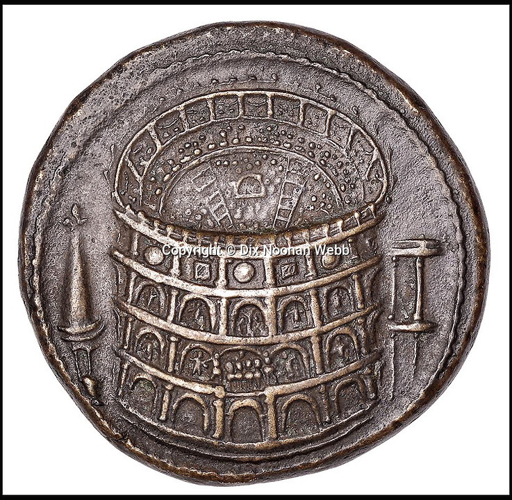 BNPS.co.uk (01202 558833)<br /> Pic: DixNoonanWebb/BNPS<br /> <br /> An incredibly rare Roman coin featuring one of the earliest depictions of the Colosseum has sold for &pound;372,000 over four times the original estimate.<br /> <br /> The bronze Sestertius coin that dates back to AD81 is believed to be only one of 10 that exists today.<br /> <br /> Seven are known of and are in museums around the world while the other three are in private hands.<br /> <br /> London specialist coin dealers Dix Noonan Webb gave the coin an estimate of &pound;80,000 but it went for over four times that at &pound;372,000.