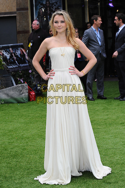 Amber Atherton.The World Premiere of 'Snow White And The Huntsman', Empire Leicester Square, London, England..14th May 2012.full length white strapless dress hands on hips.CAP/CJ.©Chris Joseph/Capital Pictures.