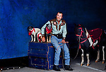 "Mike Rice, waits outside the entrance of the circus tent with his wife Carolyn's dogs and pony she performs with. Carolyn performs as ""Moxie Montana"" and dons a cowgirl uniform during the Cole Bros. Circus...2009 marks the Cole Bros.'s 125th anniversary and the circus claims to be the oldest American circus under a tent. The 136 x 231 foot tent can house over 2,800 fans, along with several acts where the performers hail from all over the world...These images are from shows in Augusta, Georgia, Thomasville, Georgia and Meridian, Mississippi."