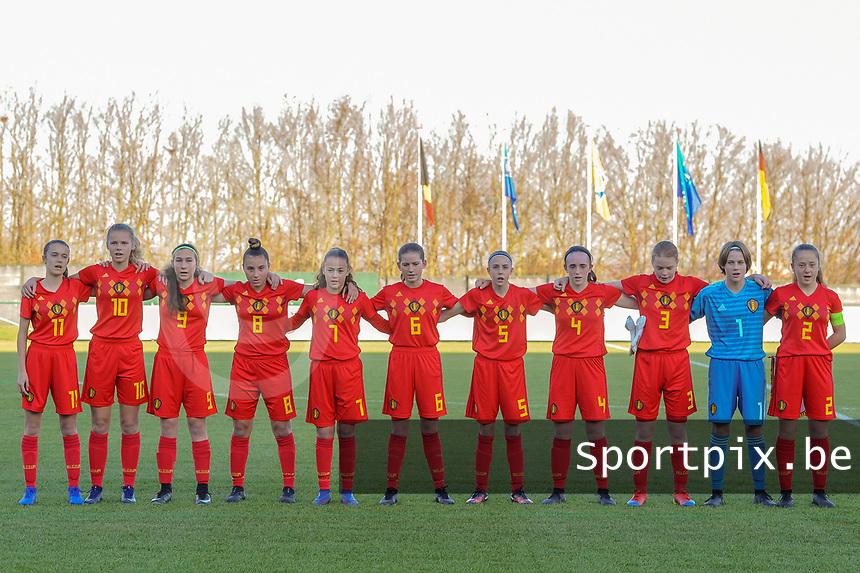 20191204 - TUBEKE , BELGIUM : Belgians (11) Fien Broeckaert, (10) Lore Jacobs , (9) Coline D'Haeyer , (8) Iman Galai , (7) Anouck Bergen , (6) Yara Tassens , (5) Saar Janssen , (4) Lore Schoovaerts , (3) Emely Schapdryver , (1) Lise Van Gemert  , (2) Tinne Broeckaert pictured during the international friendly female soccer game between the Belgian Flames U15 and Germany , Wednesday 4 th December 2019 at the Belgian Football Centre, Tubeke / Tubize , Belgium. PHOTO SPORTPIX.BE   STIJN AUDOOREN