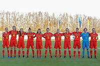 20191204 - TUBEKE , BELGIUM : Belgians (11) Fien Broeckaert, (10) Lore Jacobs , (9) Coline D'Haeyer , (8) Iman Galai , (7) Anouck Bergen , (6) Yara Tassens , (5) Saar Janssen , (4) Lore Schoovaerts , (3) Emely Schapdryver , (1) Lise Van Gemert  , (2) Tinne Broeckaert pictured during the international friendly female soccer game between the Belgian Flames U15 and Germany , Wednesday 4 th December 2019 at the Belgian Football Centre, Tubeke / Tubize , Belgium. PHOTO SPORTPIX.BE | STIJN AUDOOREN