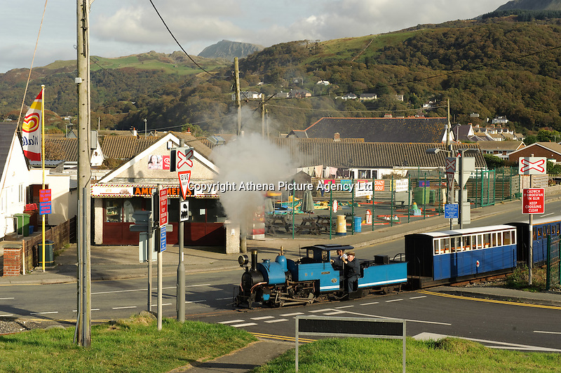 The miniature railway running past the village of Fairbourne, on the Cardigan Bay coast, Gwynedd, north Wales, UK which is threatened by the policy of 'managed retreat' of the coastal sea defences.