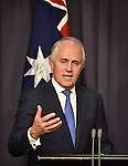 Malcolm Turnbull, Australia's incoming prime minister, speaks during a news conference after winning a party leadership ballot in Canberra, Australia, on Monday, Sept. 14, 2015. Photographer: Mark Graham/Bloomberg *** Local Caption *** Malcolm Turnbull