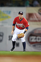Mississippi Braves first baseman Kevin Ahrens (17) during a game against the Pensacola Blue Wahoos on May 28, 2015 at Trustmark Park in Pearl, Mississippi.  Mississippi defeated Pensacola 4-2.  (Mike Janes/Four Seam Images)