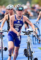 12 SEP 2010 - BUDAPEST, HUN - Jodie Stimpson leaves transition for the start of the bike during the 2010 Elite Womens ITU World Championship Series Triathlon final (PHOTO (C) NIGEL FARROW)