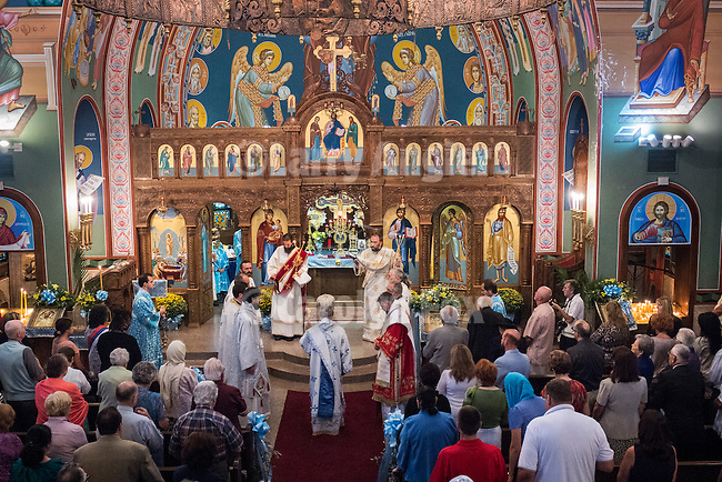 Three bishops conduct liturgy at Blessed Virgin Mary of the Assumption Serbian Orthodox Church in Fair Oaks, Calif...His Grace Bishop Ignatije Midic, of  of Branicevo, Serbia, His Grace, Bishop Maxum of Western America and His Grace Bishop Grigorije (Duric) of Zahumlje, Herzegovina.