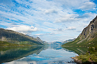 Reflection on lake Gjende, Gjendesheim, Jotunheimen national park, Norway