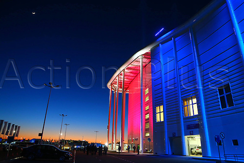 03.02.2014 Sochi, Russia.  Main Press Center is lit up at night in the coastal cluster Olympic Park in Sochi, Russia, Feb 3, 2014. The opening ceremony for the 2014 Winter Olympics will kick off on Feb. 7 in Sochi.