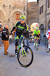 Team Cannondale-Garmin rider makes his way to sign on before the start of the 2015 Strade Bianche Eroica Pro cycle race 200km over the white gravel roads from San Gimignano to Siena, Tuscany, Italy. 7th March 2015<br /> Photo: Eoin Clarke www.newsfile.ie