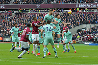 Laurent Koscielny of Arsenal heads clear during West Ham United vs Arsenal, Premier League Football at The London Stadium on 12th January 2019