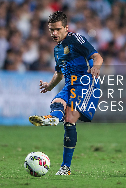 (R) Fernando Gago of Argentina in action during the HKFA Centennial Celebration Match between Hong Kong vs Argentina at the Hong Kong Stadium on 14th October 2014 in Hong Kong, China. Photo by Aitor Alcalde / Power Sport Images