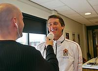 The Netherlands, Den Bosch, 16.04.2014. Fed Cup Netherlands-Japan, Press-conference Netherlands team,  captain Paul Haarhuis being interviewed<br /> Photo:Tennisimages/Henk Koster