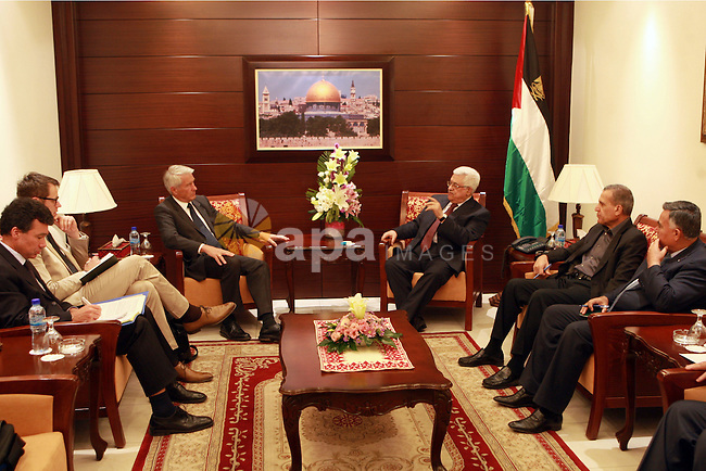 Palestinian President, Mahmoud Abbas (Abu Mazen)  meets with Secretary General of the Council of Europe Thorbjørn Jagland, in the West Bank city of Ramallah, on May 28, 2012.  Photo by Thaer Ganaim