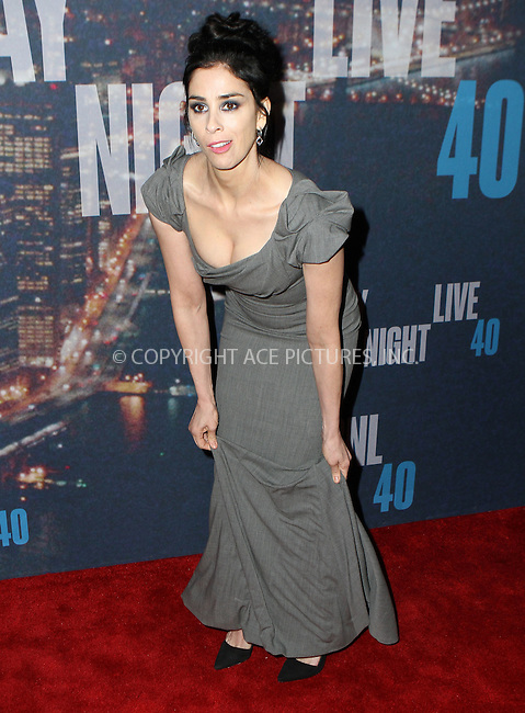 WWW.ACEPIXS.COM<br /> <br /> February 15 2015, New York City<br /> <br /> Sarah Silverman arriving at the SNL 40th Anniversary Special at the Rockefeller Plaza on February 15, 2015 in New York<br /> <br /> By Line: Nancy Rivera/ACE Pictures<br /> <br /> <br /> ACE Pictures, Inc.<br /> tel: 646 769 0430<br /> Email: info@acepixs.com<br /> www.acepixs.com