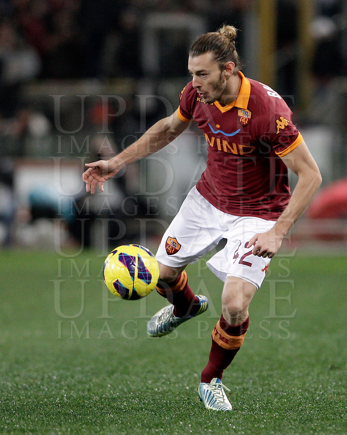 Calcio, semifinale di andata di Coppa Italia: Roma vs Inter. Roma, stadio Olimpico, 23 gennaio 2013..AS Roma defender Federico Balzaretti in action during the Italy Cup football semifinal first half match between AS Roma and FC Inter at Rome's Olympic stadium, 23 January 2013..UPDATE IMAGES PRESS/Riccardo De Luca