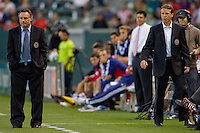 Philadelphia Union headcoach Peter Nowak (l) and assistant coach John Hackworth (r). The Philadelphia Union and CD Chivas USA played to 1-1 draw at Home Depot Center stadium in Carson, California on Saturday evening July 3, 2010..