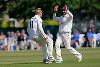Simon Harmer of Essex celebrates taking the wicket of Kumar Sangakkara during Surrey CCC vs Essex CCC, Specsavers County Championship Division 1 Cricket at Guildford CC, The Sports Ground on 11th June 2017