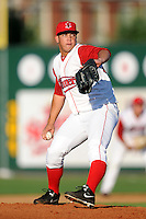 Lowell Spinners pitcher Jonathan Aro #30 during a game versus the Batavia Muckdogs at LeLacheur Park in Lowell, Massachusetts on August 3, 2013. (Ken Babbitt/Four Seam Images)