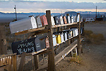 Double-deck row of mailboxes, Gold Point, Nevada